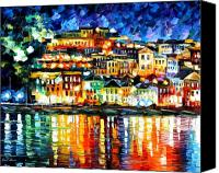 Greece Painting Canvas Prints - Parga Greece Canvas Print by Leonid Afremov