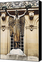 Angel Photographs Photo Canvas Prints - Paris - Courtyard Musee Carnavalet Angel Statue  Canvas Print by Kathy Fornal