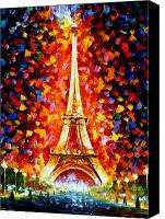 Afremov Canvas Prints - Paris - Eiffel Tower Lighted Canvas Print by Leonid Afremov