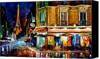 Afremov Canvas Prints - Paris - Recruitement Cafe Canvas Print by Leonid Afremov