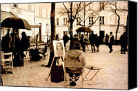Park Benches Photo Canvas Prints - Paris Artist District - Montmartre  Canvas Print by Kathy Fornal