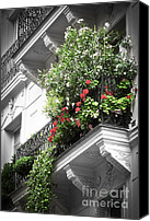 Balconies Canvas Prints - Paris balcony Canvas Print by Elena Elisseeva