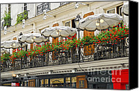 Umbrellas Canvas Prints - Paris cafe Canvas Print by Elena Elisseeva