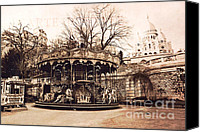 Carrousel Art Canvas Prints - Paris Carousel Montmartre District - Sacre Coeur  Canvas Print by Kathy Fornal