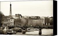 La Seine Canvas Prints - Paris Days Canvas Print by John Rizzuto