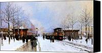 Christmas Cards Painting Canvas Prints - Paris in Winter Canvas Print by Luigi Loir