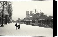 Snow Special Promotions - Paris lovers in winter Canvas Print by Philippe Taka