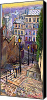 Pastel Landscape Canvas Prints - Paris Montmartre Canvas Print by Yuriy  Shevchuk
