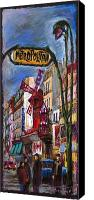 Street Canvas Prints - Paris Mulen Rouge Canvas Print by Yuriy  Shevchuk