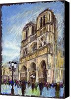 Old Pastels Canvas Prints - Paris Notre-Dame de Paris Canvas Print by Yuriy  Shevchuk
