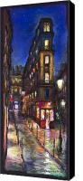 Pastel Canvas Prints - Paris Old street Canvas Print by Yuriy  Shevchuk