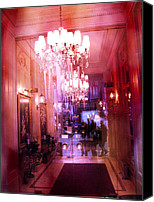 Photographs With Red. Canvas Prints - Paris Posh Pink Red Hotel Interior Chandelier Canvas Print by Kathy Fornal
