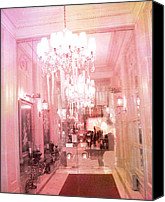 Photographs With Red. Canvas Prints - Paris Posh Pink Surreal Hotel Interior Canvas Print by Kathy Fornal