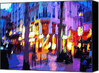 Color Digital Art Canvas Prints - Paris Quartier Latin 02 Canvas Print by Yuriy  Shevchuk