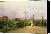 Oil Lamp Canvas Prints - Paris seen from the heights of Montmartre Canvas Print by Jean dAlheim