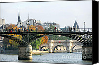 Architecture Photo Canvas Prints - Paris Seine Canvas Print by Elena Elisseeva
