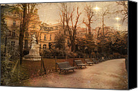 Park Benches Photo Canvas Prints - Paris Sunset Starlit Romantic Park  Canvas Print by Kathy Fornal