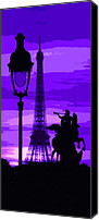 Photo Digital Art Canvas Prints - Paris Tour Eiffel Violet Canvas Print by Yuriy  Shevchuk