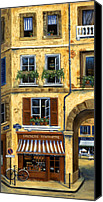 Flower Pots Canvas Prints - Parisian Bistro and Butcher Shop Canvas Print by Marilyn Dunlap