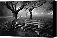 Park Benches Photo Canvas Prints - Park Benches Canvas Print by Gary Heller