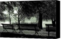 Park Benches Canvas Prints - Park Benches In Autumn Canvas Print by Joana Kruse
