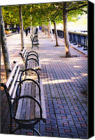 Park Benches Photo Canvas Prints - Park Benches in Hoboken Canvas Print by George Oze