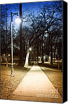 Spooky Photo Canvas Prints - Park path at night Canvas Print by Elena Elisseeva