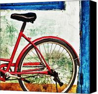 Pedals Canvas Prints - Parked Bicycle in Vibrant Colors Canvas Print by Skip Nall