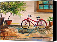 Work On Paper Drawings Canvas Prints - Parked in the Courtyard Canvas Print by John  Williams