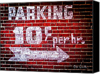 Distressed Canvas Prints - Parking Ten Cents Canvas Print by Bob Orsillo