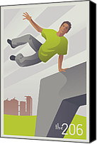 Mitch Frey Canvas Prints - Parkour at Gasworks Park Seattle Canvas Print by Mitch Frey