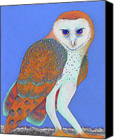 Forest Pastels Canvas Prints - Parliament of Owls detail 1 Canvas Print by Tracy L Teeter