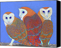 Forest Pastels Canvas Prints - Parliament of Owls detail 2 Canvas Print by Tracy L Teeter