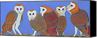 Barn Pastels Canvas Prints - Parliament of Owls Canvas Print by Tracy L Teeter