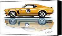 Boss Digital Art Canvas Prints - Parnelli Jones Trans Am Mustang Canvas Print by David Kyte