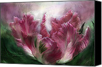 Tulip Mixed Media Canvas Prints - Parrot Tulip Canvas Print by Carol Cavalaris