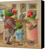 Parrots Canvas Prints - Parrots 03 Canvas Print by Kestutis Kasparavicius