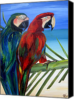 Parrots Canvas Prints - Parrots on the Beach Canvas Print by Patti Schermerhorn