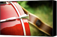 Drum Canvas Prints - Part Of Red Bass Drum With Acoustic Guitar Canvas Print by Matthias Hombauer photography