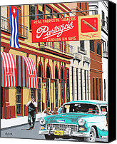 Habana Canvas Prints - Partagas Cigar Factory Havana Cuba Canvas Print by Mike G