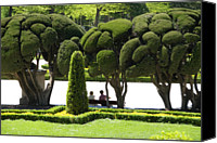 Retiro Canvas Prints - Parterre Gardens In Parque Del Buen Retiro Canvas Print by Krzysztof Dydynski