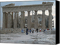 Acropolis Canvas Prints - Parthenon watercolored Canvas Print by David Bearden