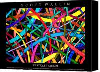 Bronze Drawings Canvas Prints - PARTICLE TRACK One Canvas Print by Scott Wallin