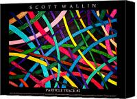 Bronze Drawings Canvas Prints - PARTICLE TRACK Two Canvas Print by Scott Wallin