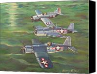 Us Navy Fighters Canvas Prints - Partners in Fame 2 Canvas Print by Murray McLeod
