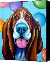 Hound Canvas Prints - Party Basset Hound Canvas Print by Dottie Dracos