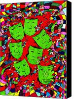 Caricature Canvas Prints - Party Of Seven Canvas Print by Teddy Campagna