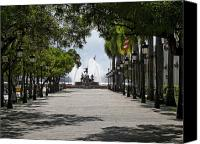 Old San Juan Canvas Prints - Paseo De La Princesa in San Juan Canvas Print by George Oze