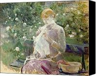 Le Jardin Canvas Prints - Pasie sewing in Bougivals Garden Canvas Print by Berthe Morisot