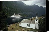 Religious Structures Canvas Prints - Passenger Ship Cruising The Fjords Canvas Print by Paul Chesley